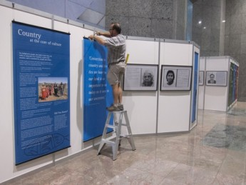 John Wayte installing the exhibition. Photo Tobias Titz