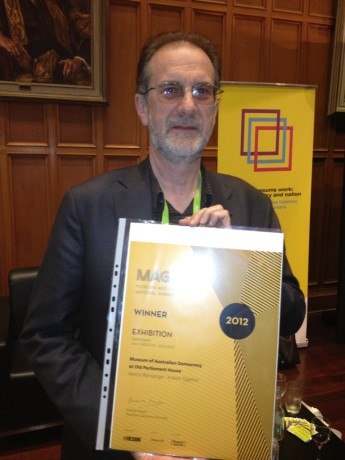 Michael Evans, Manager of our Visitor Experience and Content Development section, accepting the Museums Australia MAGNA award for Marnti warajanga - a walk together.