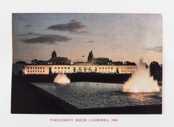 1969 Christmas Card featuring a tranquil Parliament House as dusk approaches. Museum of Australian Democracy Collection.