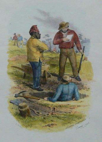 Samuel Thomas Gill, License Inspectors Forrest Creek, Victoria, c. 1854. Museum of Australian Democracy Collection