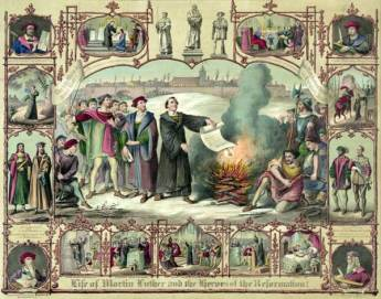 Print showing Luther burning a papal bull of excommunication, with vignettes from Luther's life and portraits of Hus, Savonarola, Wycliffe, Cruciger, Melanchton, Bugenhagen, Gustav Adolf, and Bernhard, Duke of Saxe-Weimar. Image: United States Library of Congress