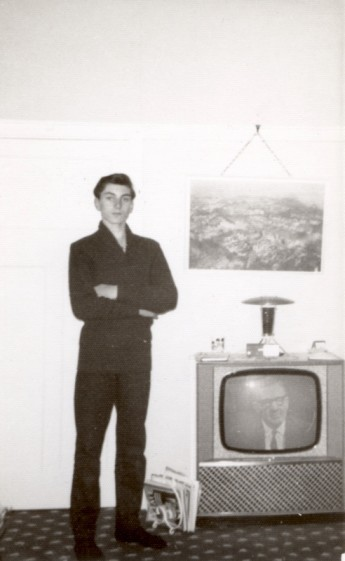 Barry with the York family's first television set in 1965.