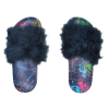 Picture of Paint Splatter Denim Fur Slides