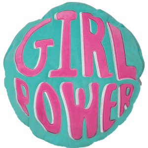 Girl Power Storage Embroidered Pillow