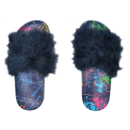 Picture of Paint Splatter Denim Fur Slides
