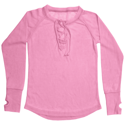 Picture of Pink Lace-Up Thermal Shirt