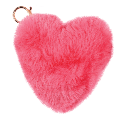 Picture of Heart Furry Pom-Pom Clip Hot Pink