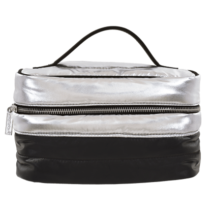 Picture of Silver Black Puffer Cosmetic Case
