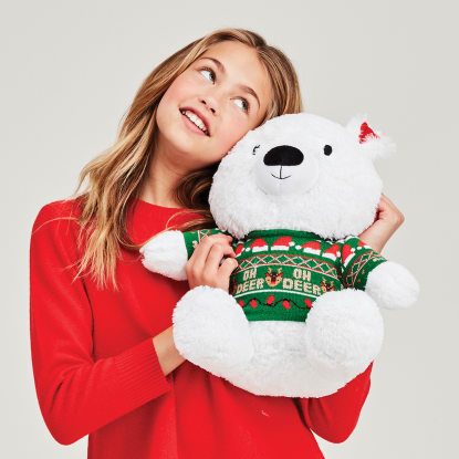 Picture of Ho Ho Ho Polar Bear Furry Pillow