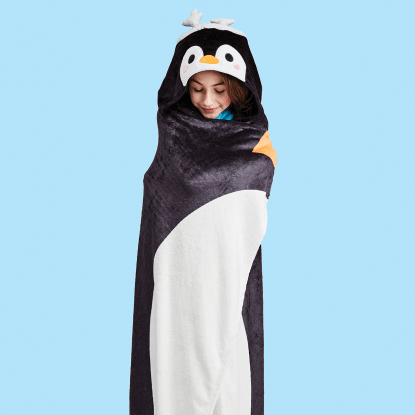 Picture of Holiday Penguin Hooded Blanket