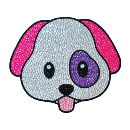 Picture of Emoji Dog Rhinestone Decal Large