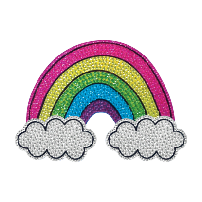 Picture of Rainbow and Clouds Rhinestone Decal Large