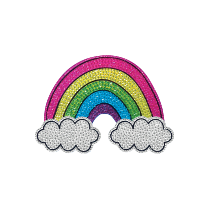 Picture of Rainbow and Clouds Rhinestone Decals Small