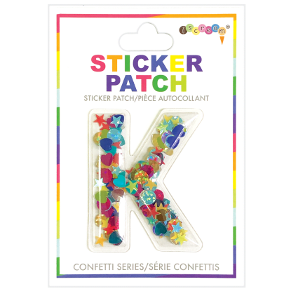 Picture of K Initial Confetti Sticker Patch