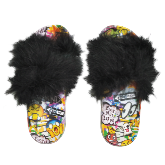 Picture of Emoji Graffiti Fur Slides