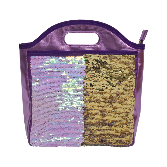 Iridescent Reversible Sequin Lunch Tote
