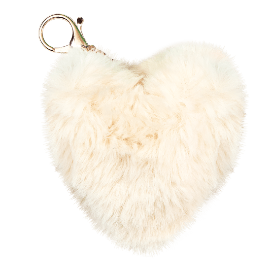 Picture of Heart Furry Pom-Pom Clip White