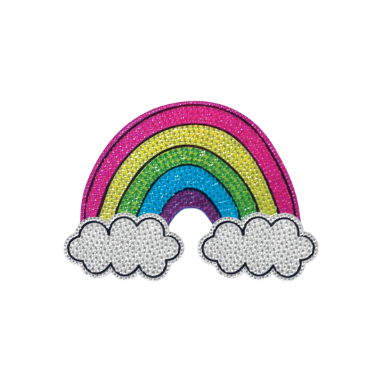 Picture of Rainbow and Clouds Rhinestone Decal Small