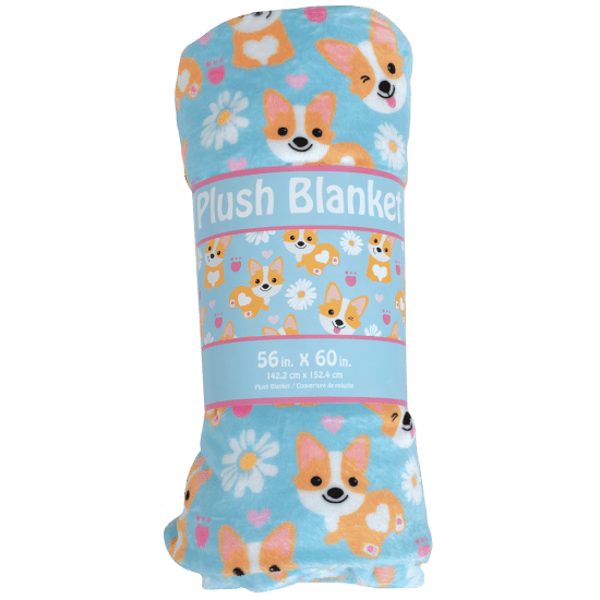 Picture of Corgis and Daisies Plush Blanket