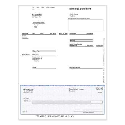 Picture of ADP Manual Preprinted Checks