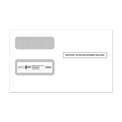 Picture of 2-Up 1099-MISC or 1099-R Double Window Envelope (7777)