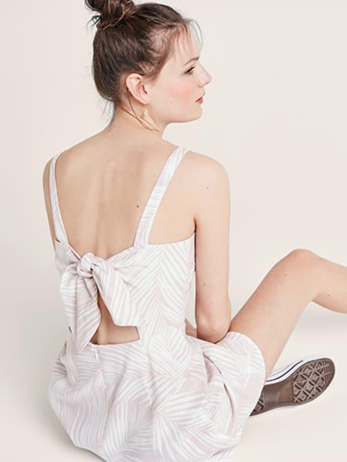 80e221079c8 Pink and White Palm Millie Linen Blend Mini Dress