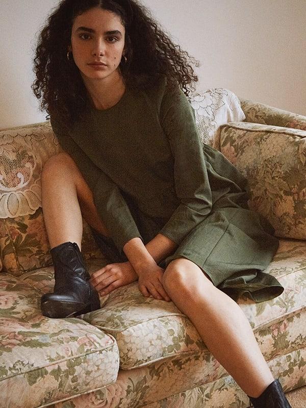 Khaki Vivienne Smock Midi Dress