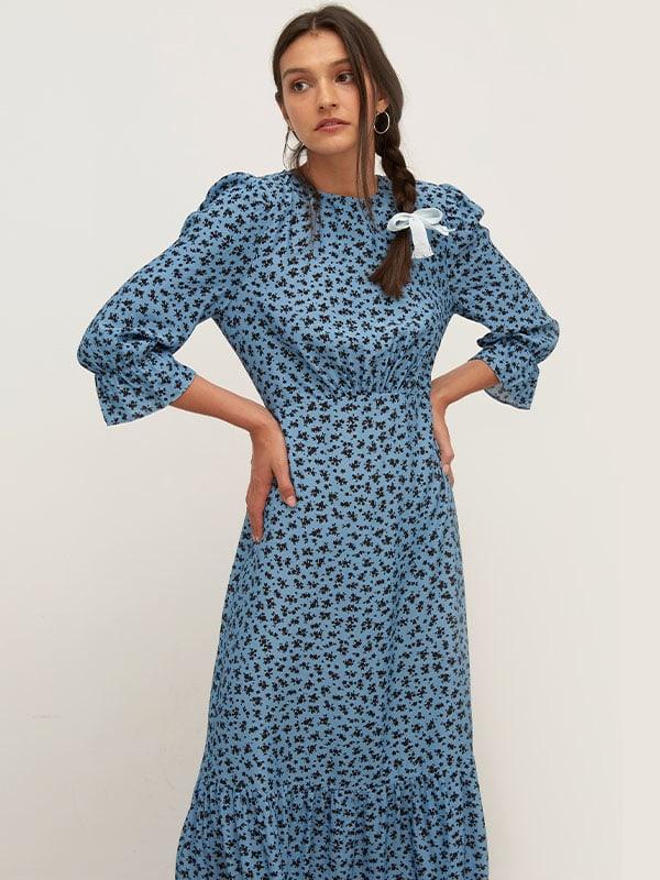 LENZING TM ECOVERO TM Blue and Black Ditsy Selena Midi Dress