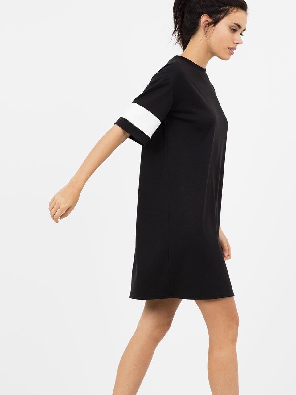 Black/White Sports Colour Block Tee Dress