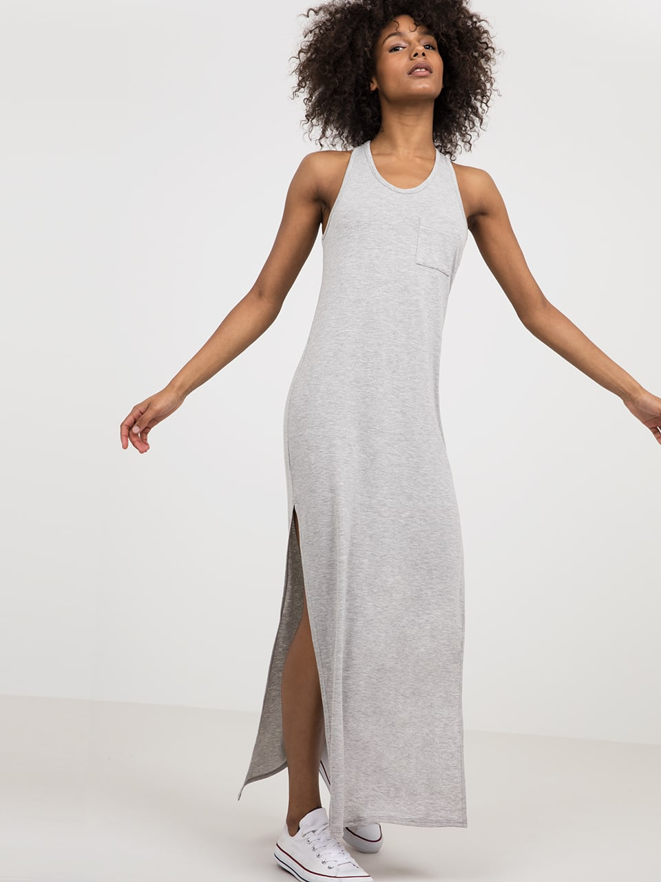 Grey Racer Back Jersey Maxi Dress