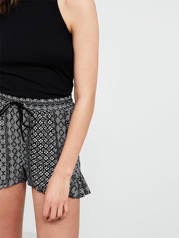 Black Tile Print Frill Shorts