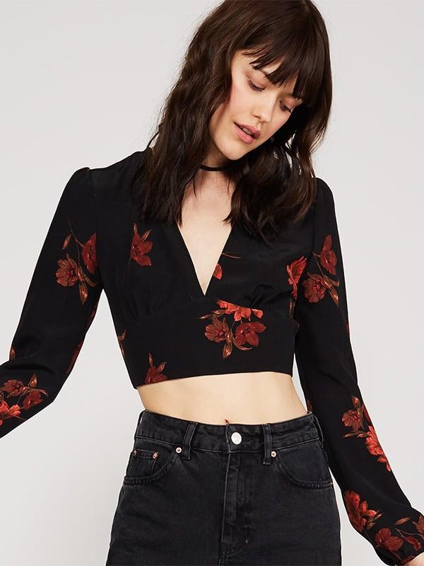 Black Wrap Floral Blouse
