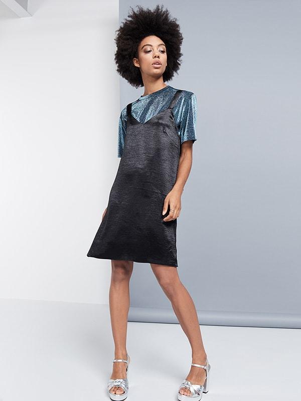 BLACK SATIN KNOT STRAP SLIP DRESS