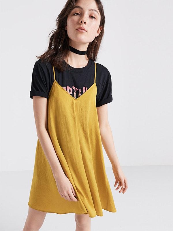 Yellow Slip Swing Dress