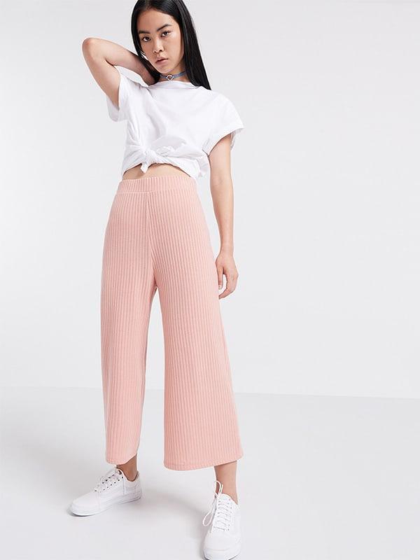 Pink High Waisted Rib Culottes