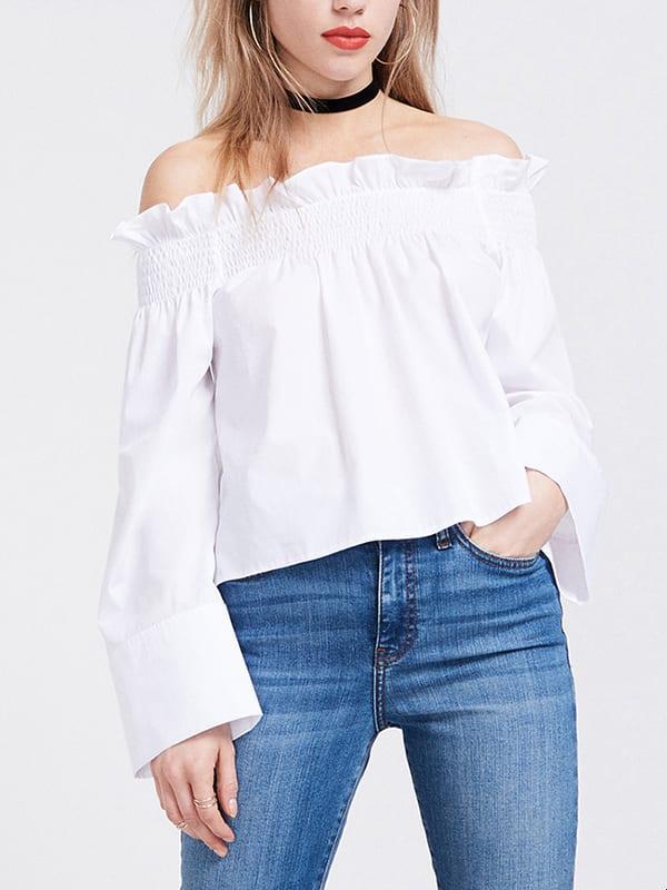 White Paper Bag Cotton Poplin Bardot Top