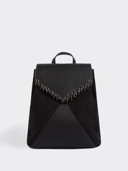 Black Chloe Faux Suedette and Leather Rucksack