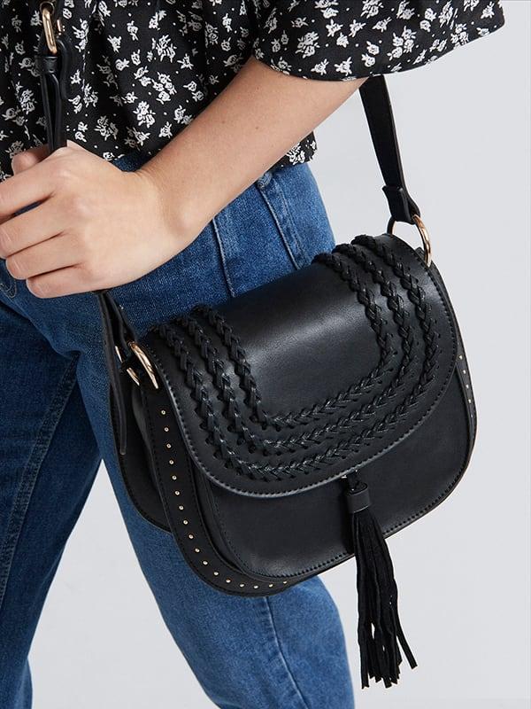 Black Isla Woven Tassel Saddle Bag