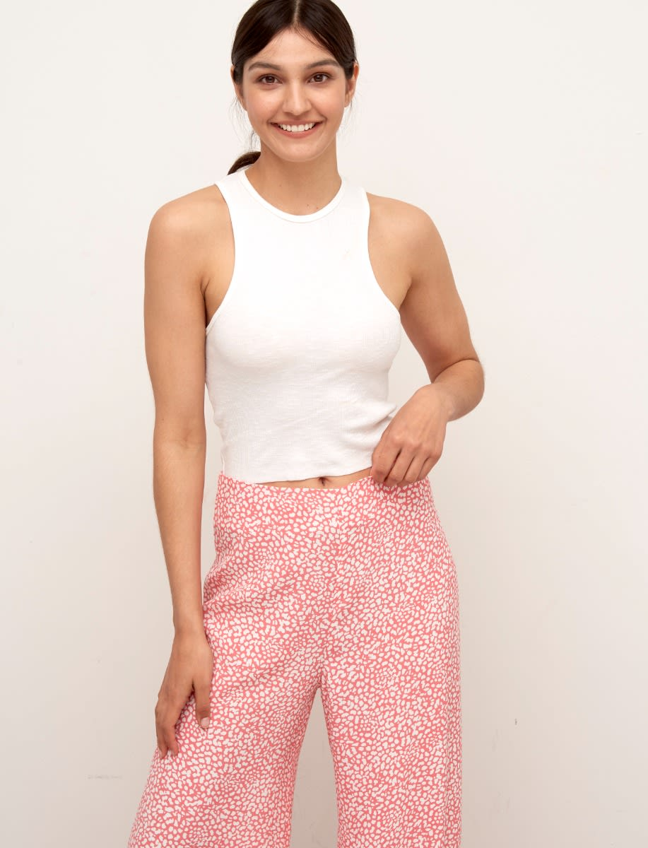 Lenzing TM Ecovero TM Coral and White Animal Lottie Wide Leg Trousers