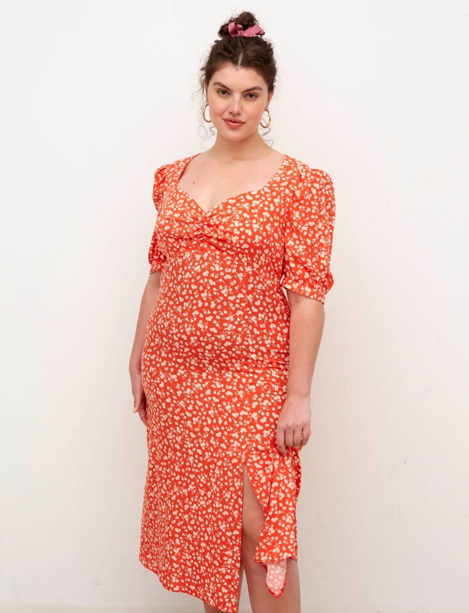 Curve Lenzing™ Ecovero™ Red and White Ditsy Rosie Midi Dress