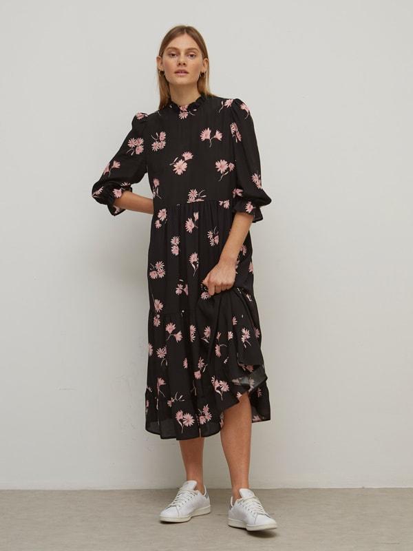 LENZING TM ECOVERO TM Pink and Black Floral Sallie Midi Dress