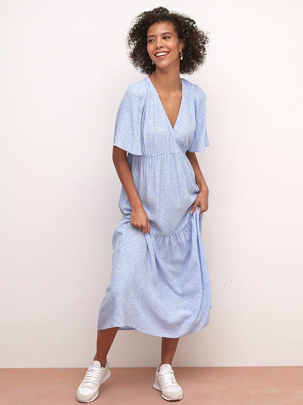 LENZING TM ECOVERO TM Blue and White Ditsy Clementine Midi Dress