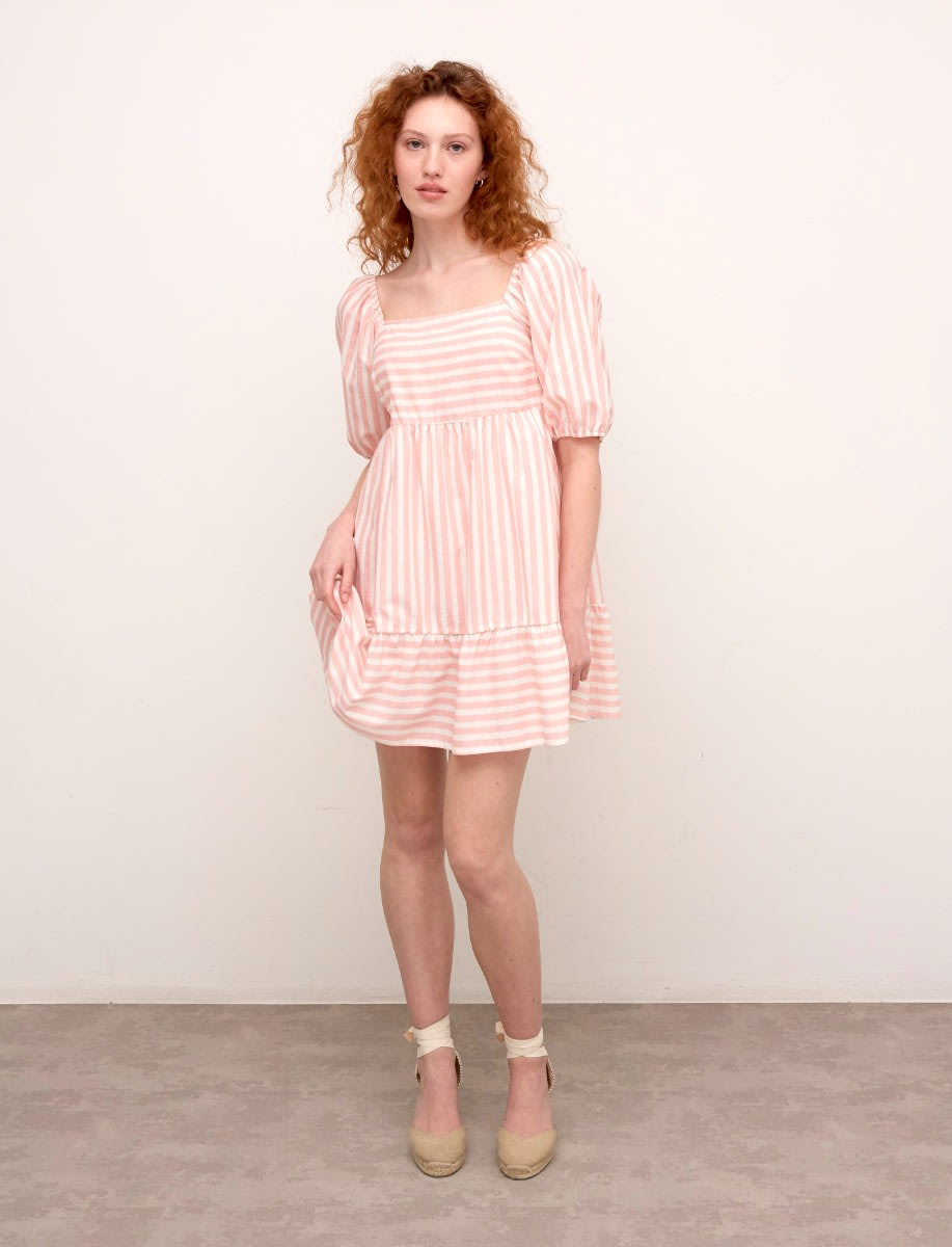 Pink and White Stripe Eugenia Mini Tiered Dress