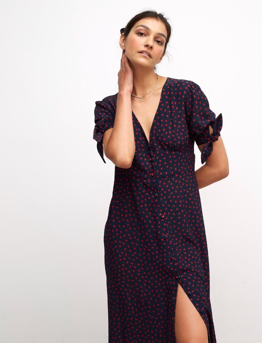 Lenzing™ Ecovero™ Red and Navy Heart Alexis Tie Sleeve Midi Dress