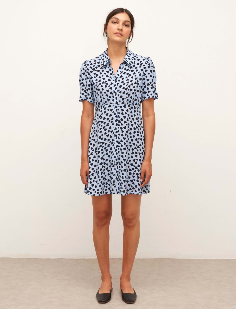 Lenzing™ Ecovero™ Blue and Black Heart Ellen Shirt Mini Dress
