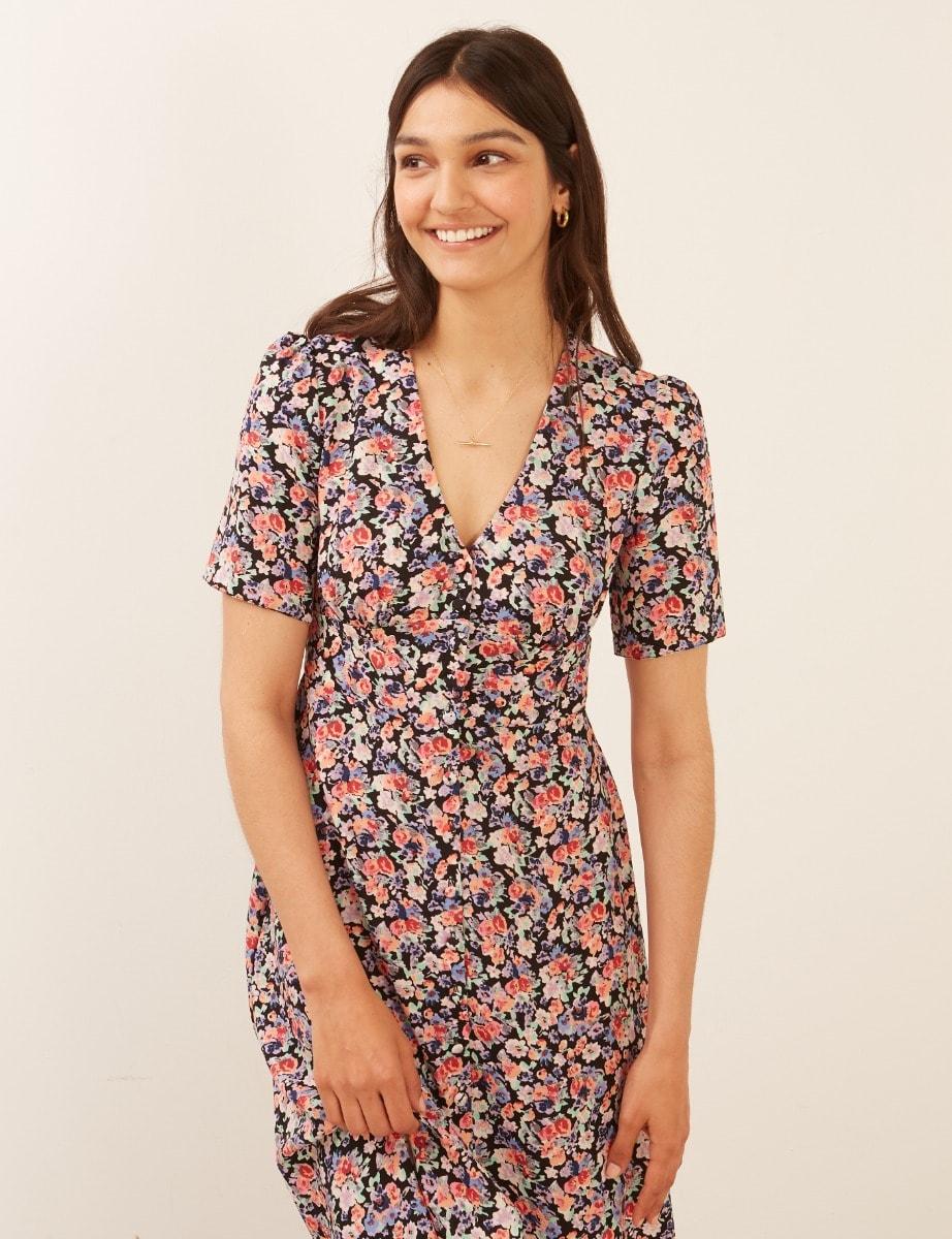 Lenzing Ecovero Pink and Blue Floral Alexa Midi Dress
