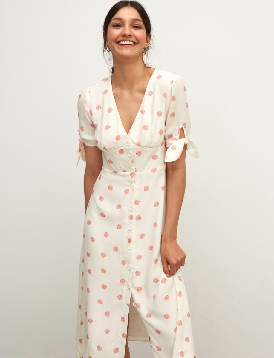 LENZING™ ECOVERO™ White Shell Alexis Midi Dress
