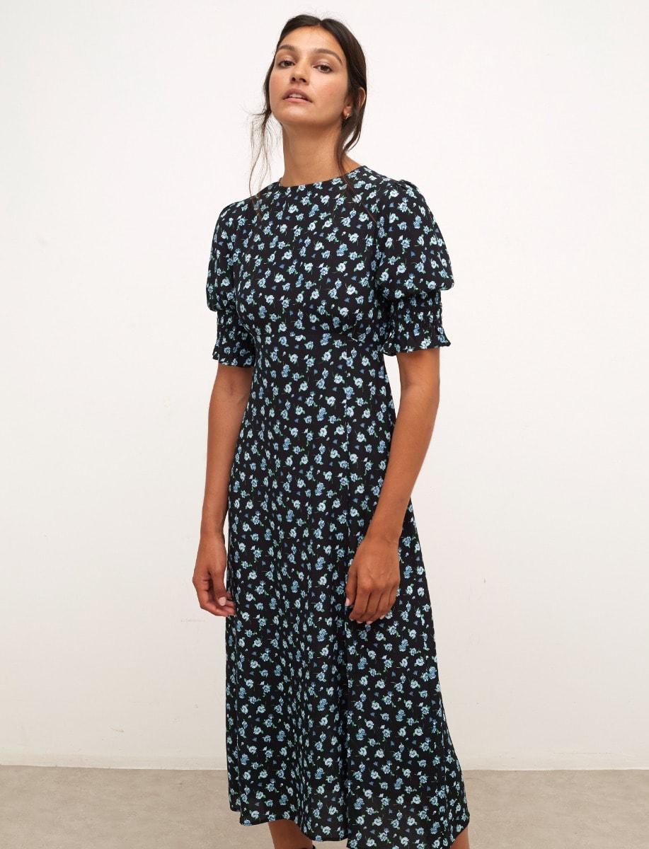 Lenzing™ Ecovero™ Black and Blue Floral Luna Midi Dress