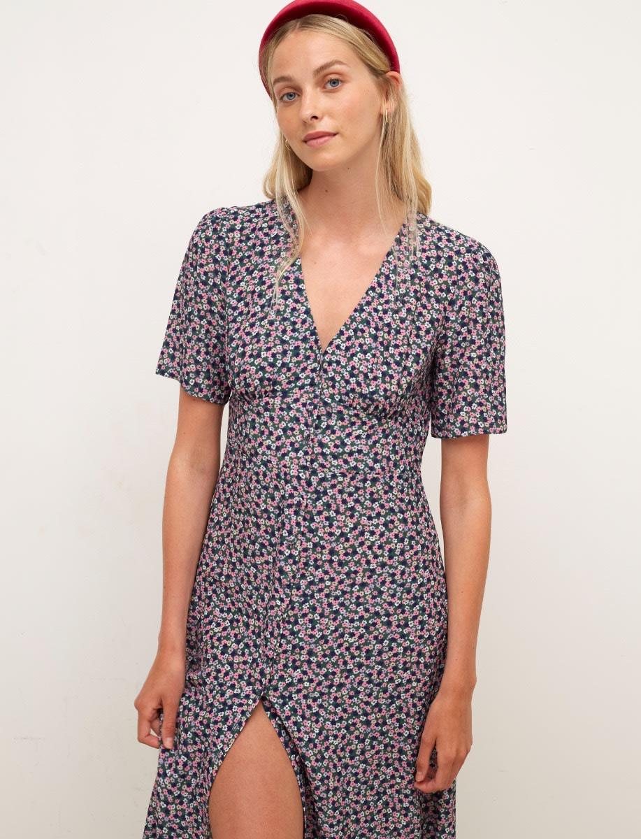 Lenzing Ecovero Multi Ditsy Alexa Midi Dress