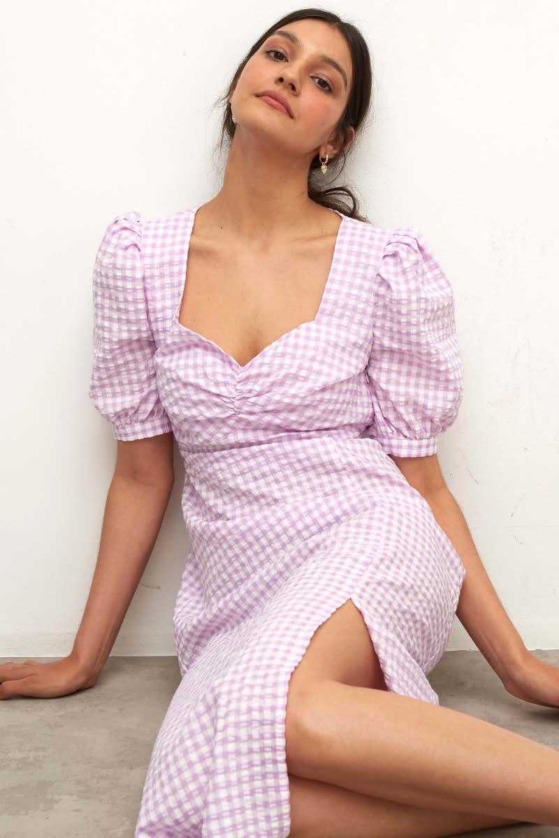 Lilac Textured Gingham Rosie Midi Dress